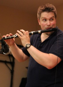 Hollis Easter playing flute