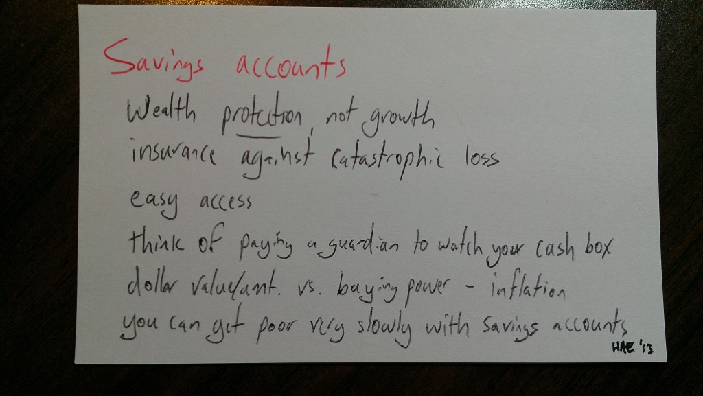 Savings accounts summary (c) Hollis Easter