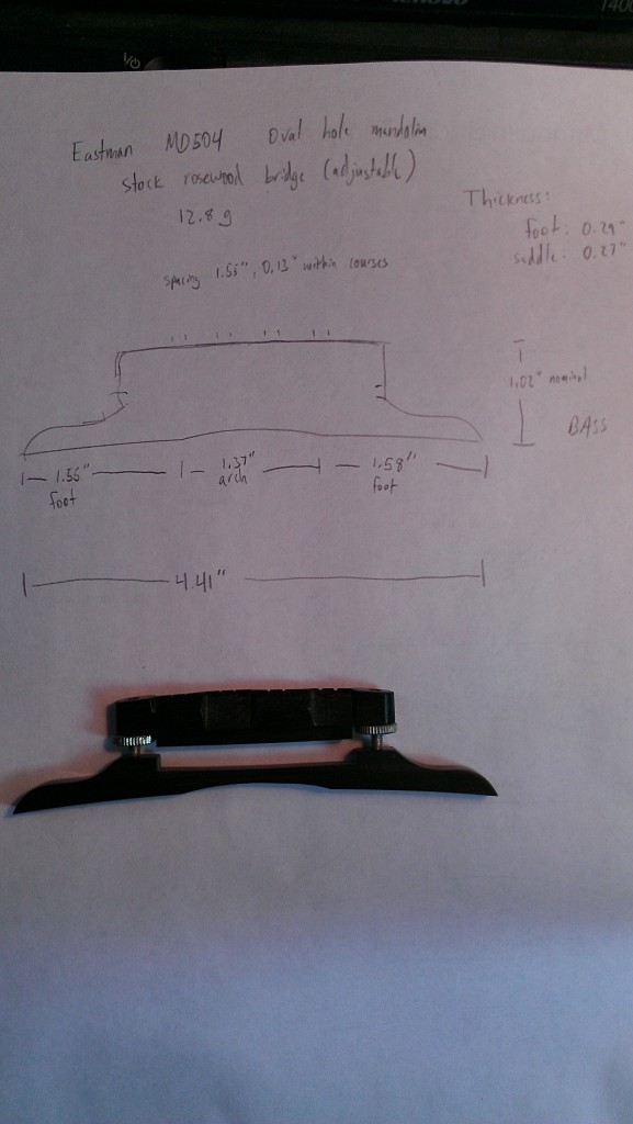 Measurements of rosewood adjustable bridge