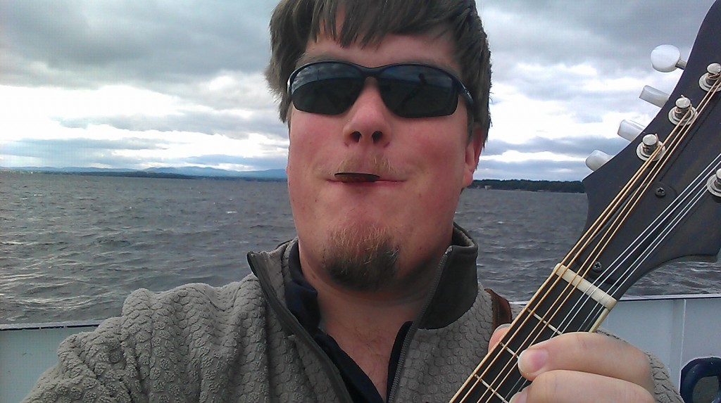 Mandolin practice on the ferry