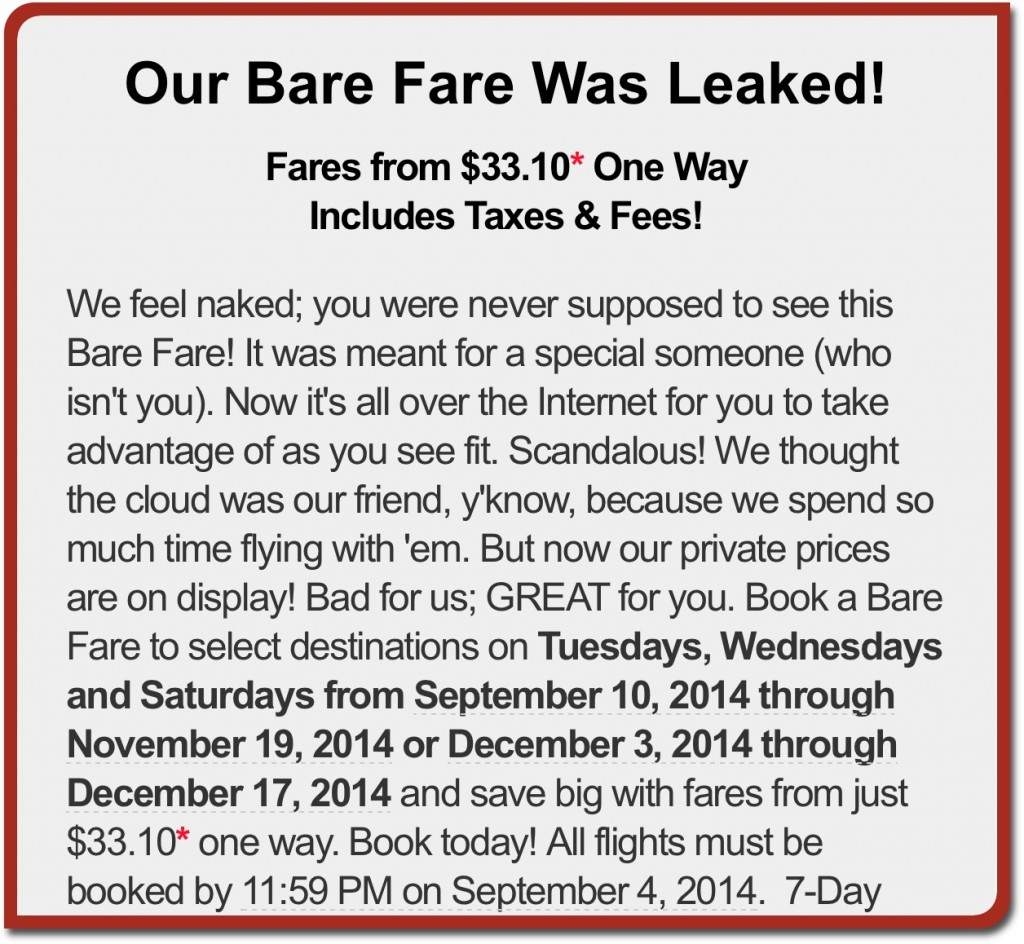 Spirit Airlines Our Bare Fare Was Leaked