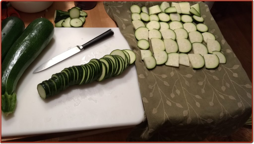 Zucchini laid out on tea towel