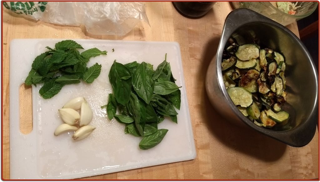 mint, garlic, basil, and crispy roasted zucchini